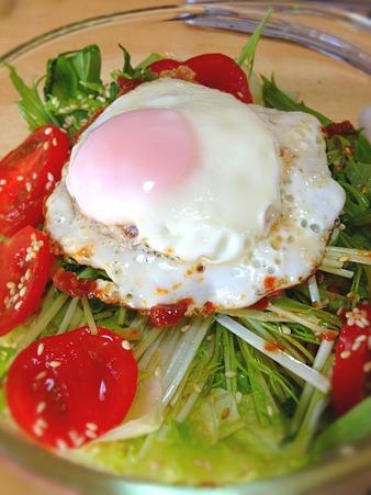 水菜の目玉焼きのせサラダ