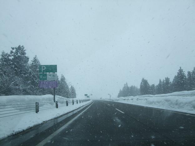 六日町辺りは猛吹雪に