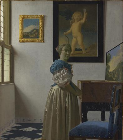 フェルメール 「ヴァージナルの前に立つ女」1670