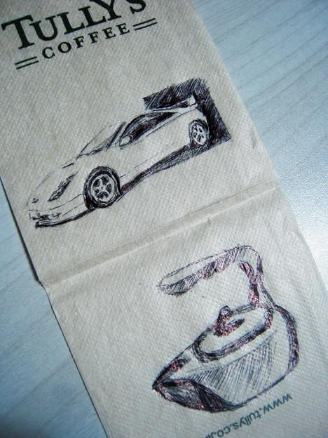 Photos: ナプキンいたずら描き。下は「やかん」のデザインw 蓋はガラスだよ
