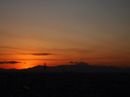 富士と夕日と