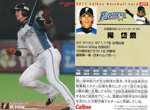 写真: プロ野球チップス2011No.099陽岱鋼(北海道日本ハムファイターズ)