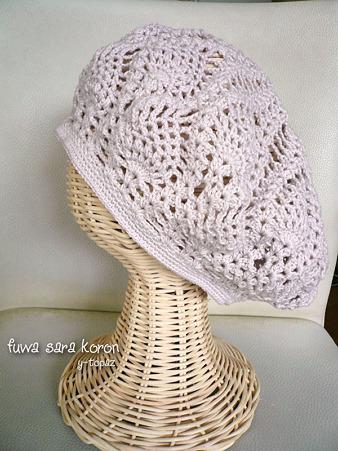 パイナップル編みで春のベレー 2