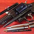 ボールペン&モデルガン (パーカープリミエボールペン、ロメオボールペン、セーラーボールペン、タナカS&W M1917)