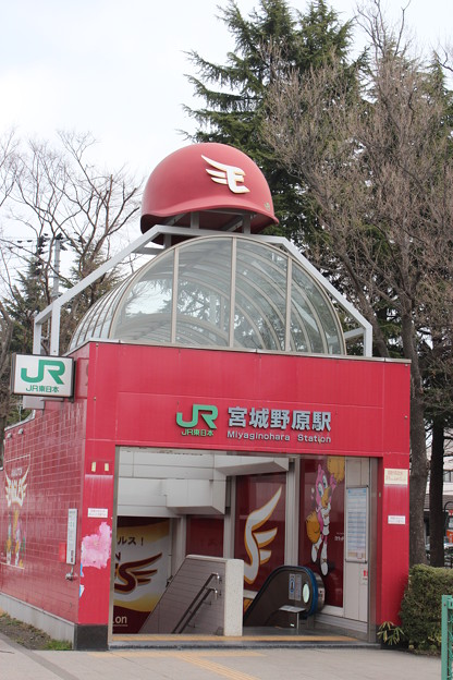 24.4.18宮城野原駅の出口にヘルメット